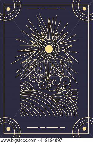 Beautiful Symbolic Black Magical Tarot Card. Concept Of Magic Occult Tarot Cards, Esoteric Boho Spir