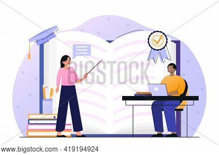 Private School Teacher Is Teaching Student Kid. Female Private School Worker Is Teaching Little Chil