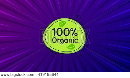 Organic Food Banner. Purple Background With Offer Message. Nature Bio Product Tag. Vegetarian Eco Ic