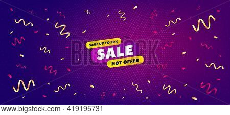 Sale 30 Percent Off Banner. Festive Confetti Background With Offer Message. Discount Sticker Shape.