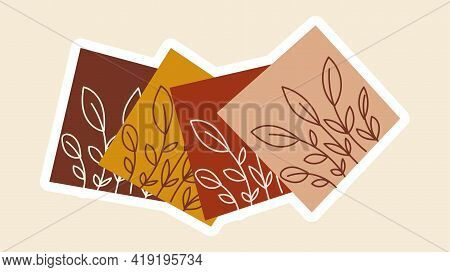 Sticker With Beautiful Colorful Sewing Pillows With Flowers On Cloth. Concept Of Sewing Or Needlewor