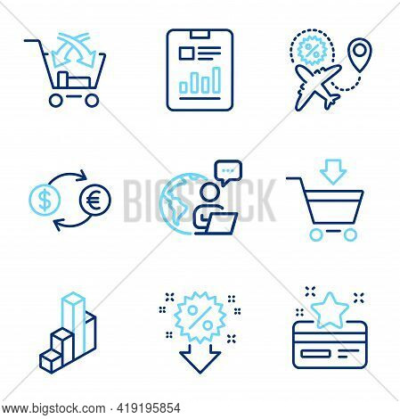 Finance Icons Set. Included Icon As Discount, Report Document, 3d Chart Signs. Loyalty Card, Currenc