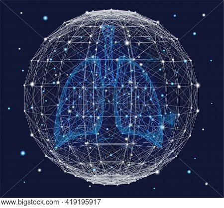 Futuristic Medical Concept With Blue Human Lungs And Plexus Sphere. Abstract Geometric Design With P