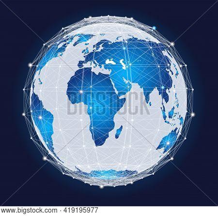 Planet Earth With Plexus Sphere, Futuristic Design Vector Illustration. Abstract Geometric Design Wi
