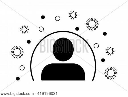 Immunity System Person Line Icon. Human Immune System With Protection Against Viruses And Bacteria.