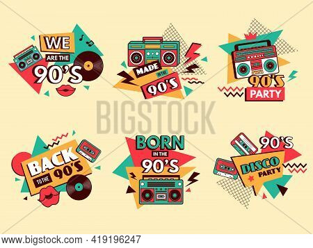 Retro 90s Labels. Colored Badges Vintage Old School Style Fashion Elements Musical Boombox For Pop M