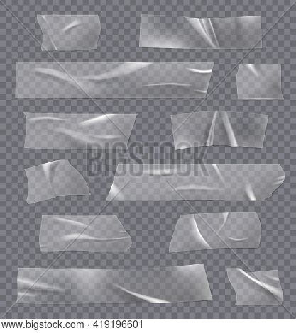 Transparent Sticky Tape. Adhesives Crumpled Realistic Bandage Fix Tape With Glue Wrap Objects Decent