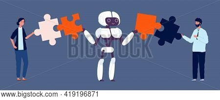 Robotics Integration. Cooperation, Business Collaboration And Teamwork With Android. Robot And Busin