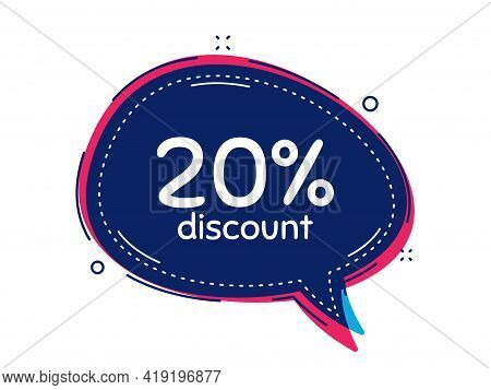 20 Percent Discount. Thought Bubble Vector Banner. Sale Offer Price Sign. Special Offer Symbol. Thou