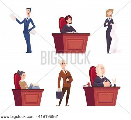 Judges Characters. Lawyers Team Justice Professional Workers In Robe Near Court Exact Vector Cartoon