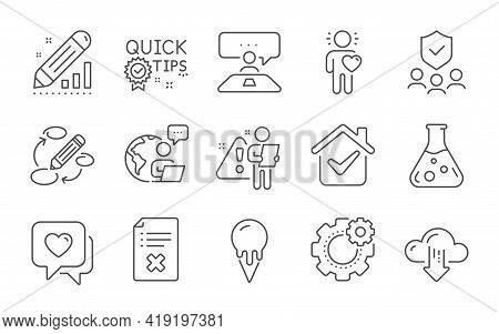 Keywords, Friend And Chemistry Lab Line Icons Set. Quick Tips, Reject File And Edit Statistics Signs
