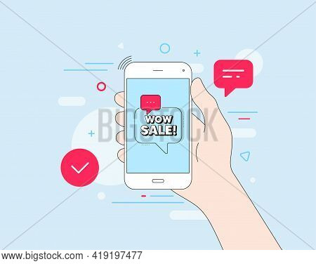 Wow Sale. Mobile Phone With Offer Message. Special Offer Price Sign. Advertising Discounts Symbol. C