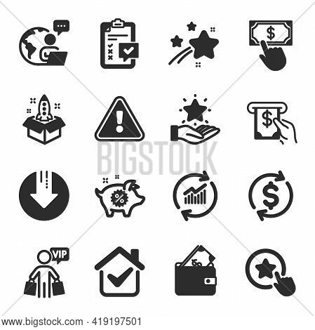 Set Of Finance Icons, Such As Payment Click, Checklist, Loyalty Star Symbols. Update Data, Wallet, A