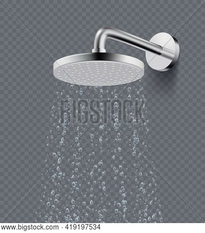 Shower Rain. Drops Bathroom Liquid Flowing Water In Shower Decent Vector Isolated Realistic Picture