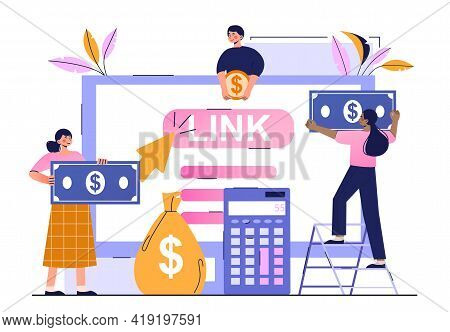 Pay Per Click Marketing, Digital Marketing Campaign. Cost Per Click Technology. Flat Abstract Metaph