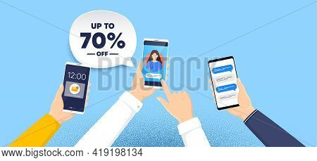 Up To 70 Percent Off Sale. Phone Chat Messages. Discount Offer Price Sign. Special Offer Symbol. Sav