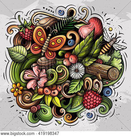 Summer Nature Vector Doodles Illustration.