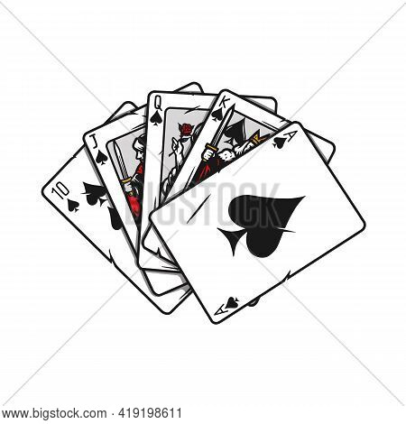 Royal Flush Of Spades Poker Hand In Vintage Style Isolated Vector Illustration