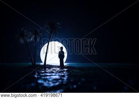 Futuristic Night Landscape With Abstract Landscape And Island, Moonlight, Shine. Dark Natural Scene