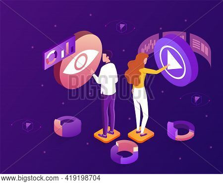 Streaming Video And Movies, Home Cinema Entertainment Web Page. Flat Abstract Metaphor Cartoon Vecto