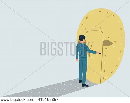 Vector Illustration Of Split Personality, Dissociative Identity Disorder. The Concept Of A Sense Of