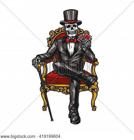 Casino Vintage Colorful Concept With Skeleton In Tuxedo And Top Hat Sitting On Elegant Chair And Hol