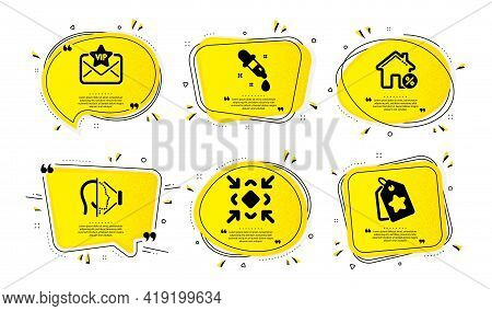 Vip Mail, Chemistry Pipette And Minimize Icons Simple Set. Yellow Speech Bubbles With Dotwork Effect