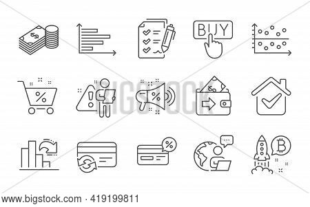 Change Card, Wallet And Bitcoin Project Line Icons Set. Survey Checklist, Loan Percent And Buying Si