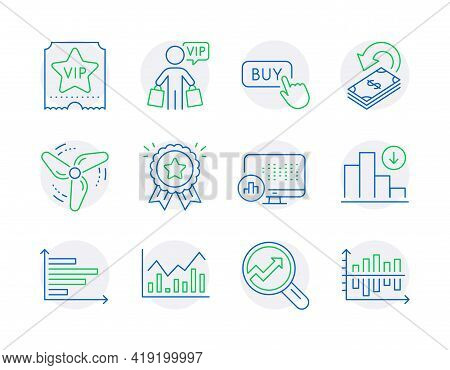 Finance Icons Set. Included Icon As Analytics, Horizontal Chart, Infochart Signs. Cashback, Loyalty