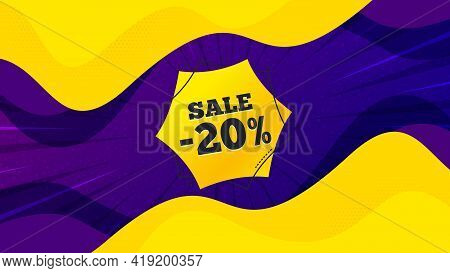 Sale 20 Percent Off Sticker. Fluid Liquid Background With Offer Message. Discount Banner Shape. Coup