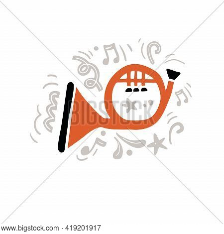 Vector Illustration Of Minimalist Classic Brass Instrument Called Horn Hand Drawn In Flat Style With