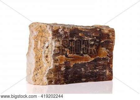 Macro Stone Mineral Onyx Marble On White Background Close Up