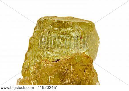 Macro Stone Beryl Mineral On White Background