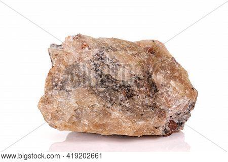 Macro Stone Zircon Mineral On White Background