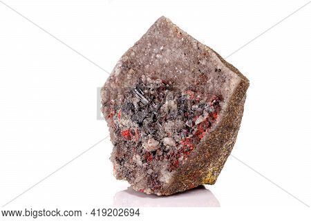 Macro Stone Cinnabar With Mineral Stibnite On A White Background