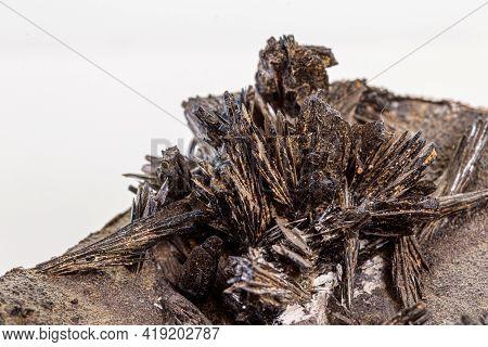 Macro Stone Vivianite Mineral On White Background