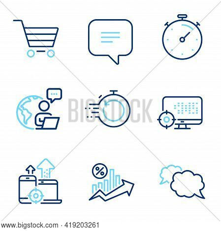 Technology Icons Set. Included Icon As Loan Percent, Seo Devices, Text Message Signs. Timer, Messeng