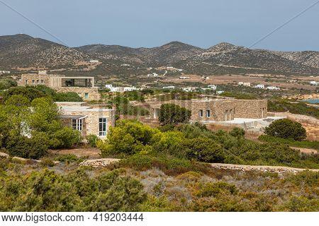 View Of Luxury Villas On The Slopes Of Antiparos Island.greece.
