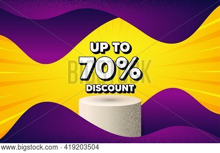 Up To 70 Percent Discount. Abstract Background With Podium Platform. Sale Offer Price Sign. Special