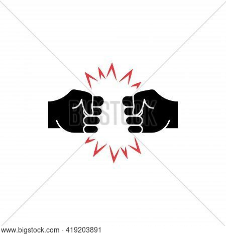 Two Hands Fist Bump Icon. Fists Punching As Greeting. Respect, Fight, Conflict And Handshake Concept