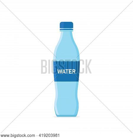 Water Bottle. Icon Of Plastic Or Glass Bottle With Mineral Water. Blue Container With Soda For Drink