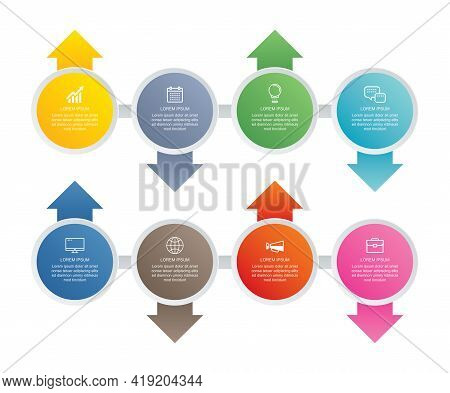 8 Circle Step Infographic With Abstract Timeline Template. Presentation Step Business Modern Backgro