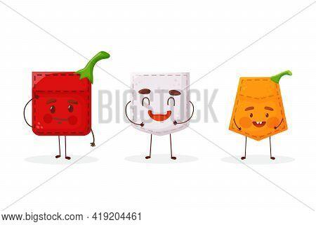 Set Pepper Garlic Pumpkin Shaped Patch Pocket. Character Pocket Pepper Garlic Pumpkin. Cartoon Style