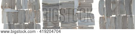 Driftwood Banner. Gray Sea Snags Composition Set Isolated On White Background .decor In A Nautical S