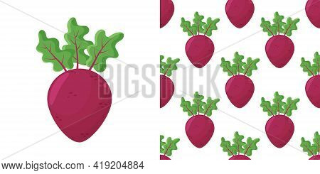 Beet Root Flat Design Seamless Pattern. Seamless Pattern With Leaves And Vegetable Beet Root.