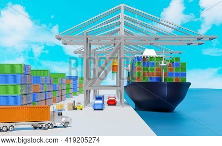 Cargo Ship And Industrial Port With Tractor And Trailer Or Semi Truck ,shipping Container ,logistic