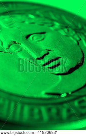 Brazilian 1 One Real Coin Close-up. Bright Green Tinted Vertical Illustration About Money, Finance,