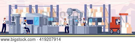Smart Factory. Industrial Supervisor, Manufacturing Production Process. Warehouse Machine Operator,