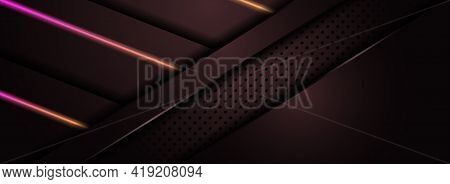 Abstract Maroon Background Design Combined With Shinny Orange And Purple Gradient Lines. Graphic Des