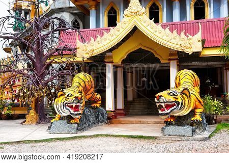 Statues Of Tigers At Entrance To Buddhist Pagoda Tham Suea Near Tiger Cave Temple In Krabi, Thailand